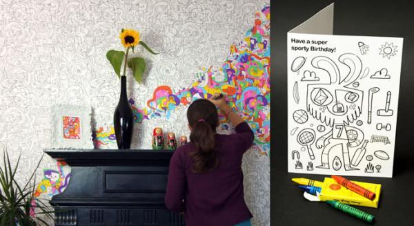 papel para paredes y tarjetas para colorear de jon burgerman