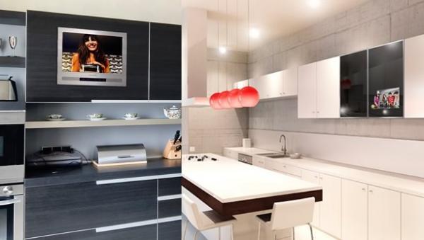 Alta tecnología pantallas de TV en los muebles de cocina