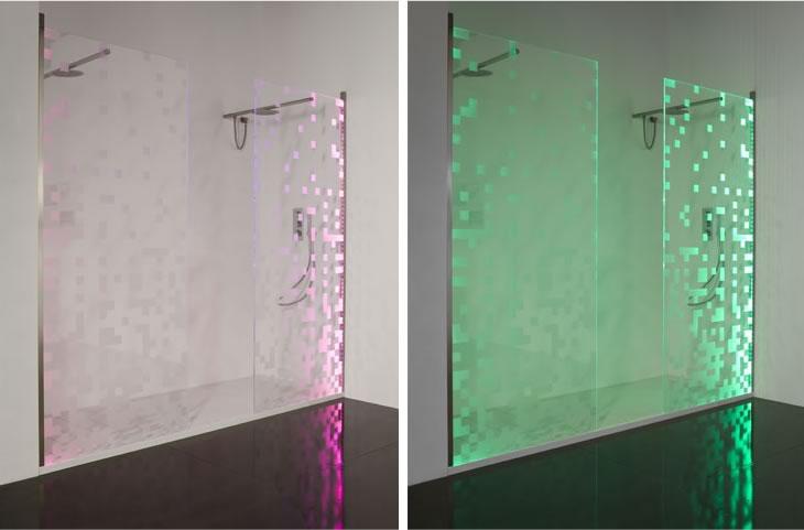 Puertas de ducha que cambian de color de antonio lupi for Led para ducha