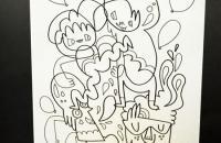 Tarjeta para colorear de Jon Burgerman